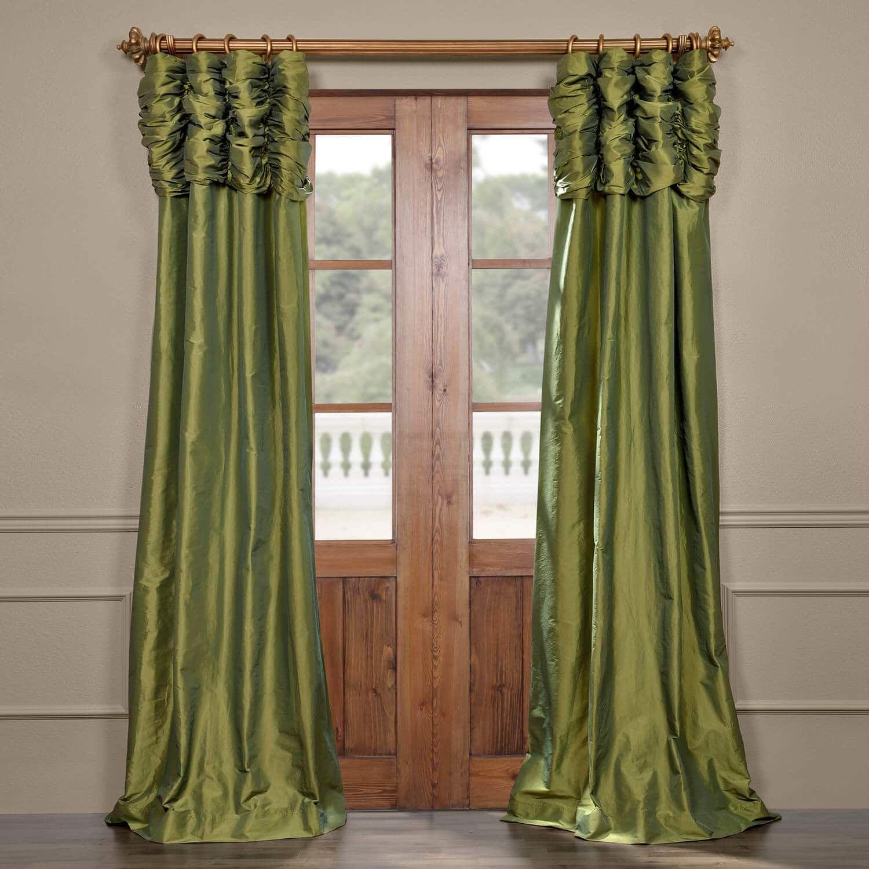 Fern Ruched Faux Solid Taffeta Curtain Curtains Silk Curtains