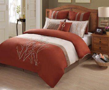 Amazon Com Sabina 8 Piece Comforter Set Terracotta Cream
