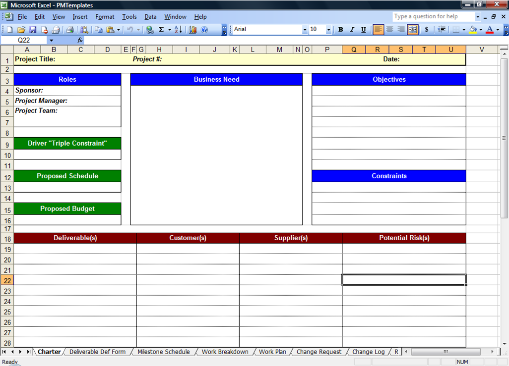 microsoft excel template for project management