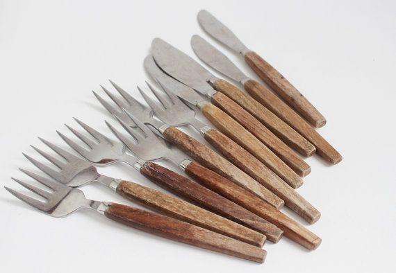 Swedish Vintage Cutlery Set Of 11 Forks And Knives With Wooden Handles Flatware Scandinavian Farmhouse Rustic Kitchen Serving By Littleretronome