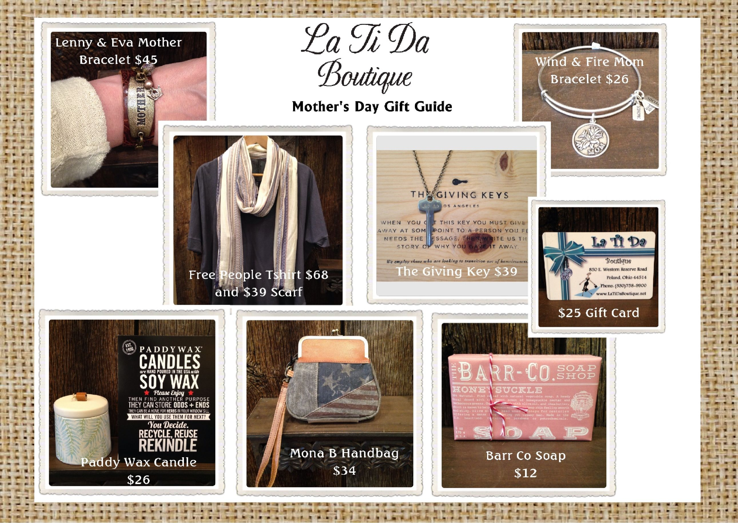 Mother's Day Gift Guide at La Ti Da Boutique!  All items are on sale Buy One Get One 40% OFF!