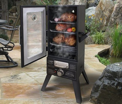 Meat Smoker Propane Gas Vertical Wood Chip BBQ Box Glass Door  Extra Large XL 44