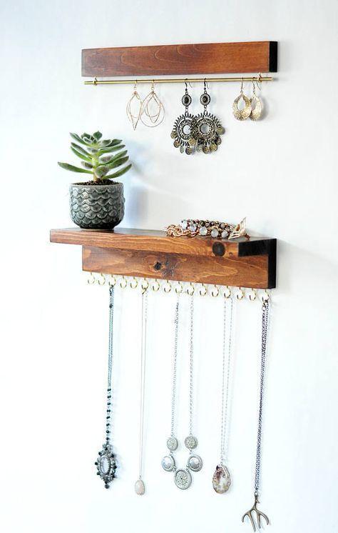 Organizador de joyas de montaje en pared, soporte para collar y exhibición de aretes #Mostrar …