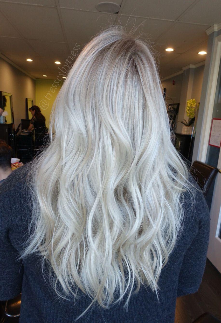Platinum White Blonde Balayage Balayage Hair Hair Color