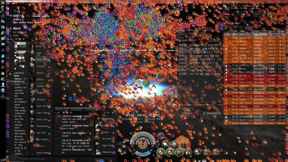 hight resolution of more than 4 000 ships fought in a huge battle in eve online a massive multiplayer space game