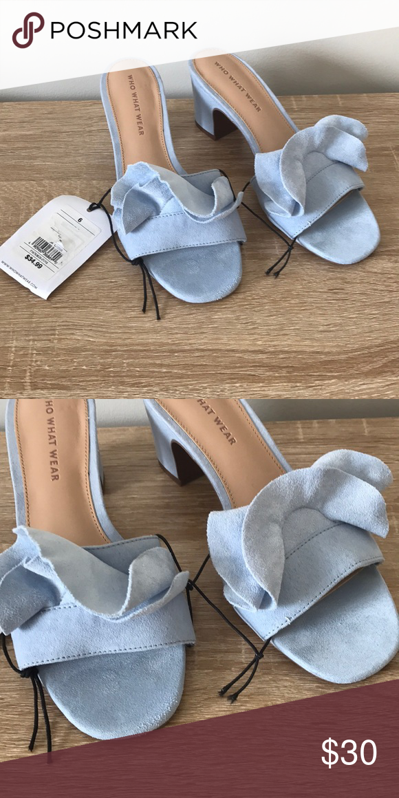 4a20436d3 NWT Who What Wear Baby Blue Zadie Heeled Sandals NWT Who What Wear Zadie  Heeled slide
