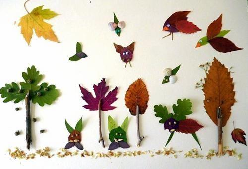 Blättercollage Wald bei Tag mit Tieren - Natur Basteln - Meine Enkel und ich - Made with schwedesign.de: