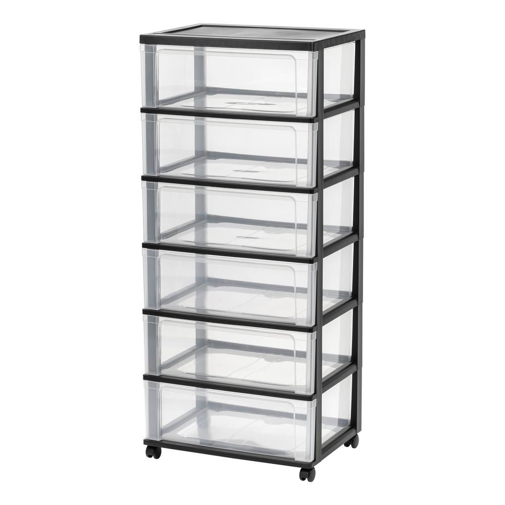 6 Drawer Plastic Wheeled Wide Chest In Black 110309 The Home Depot In 2020 Plastic Drawers Drawers Rolling Storage Cart