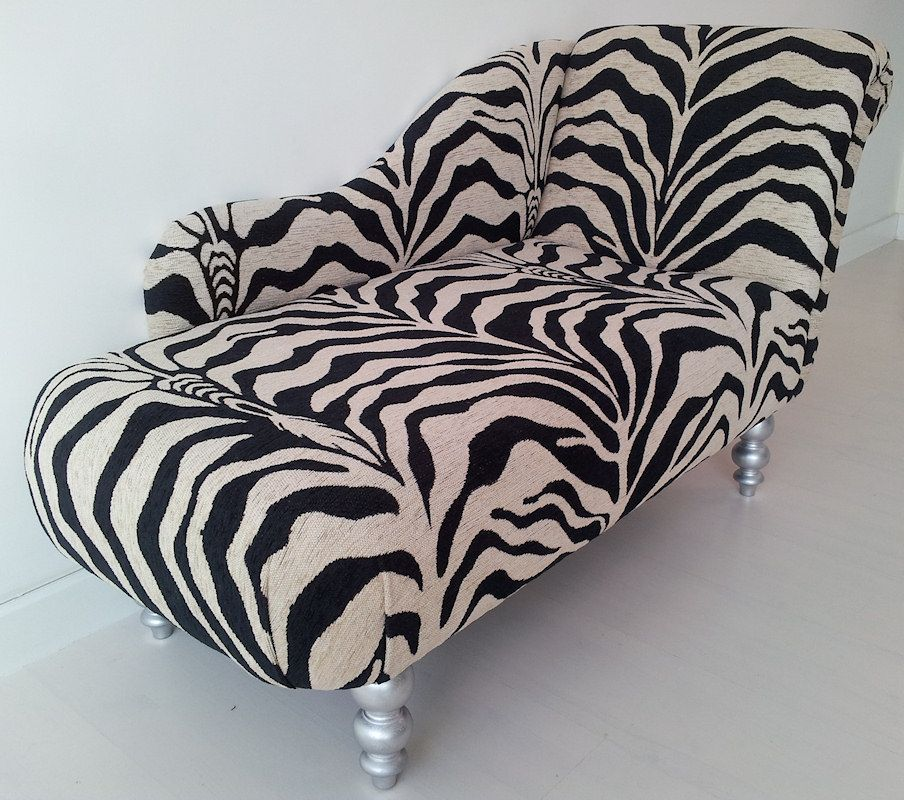 Windsor chaise longue upholstered in a zebra print fabric. : zebra print chaise - Sectionals, Sofas & Couches