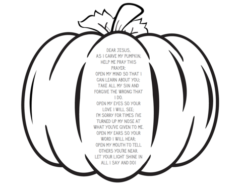 Pumpkin Prayer Coloring Page Fall Sunday School Childrens Church Lessons Fall Childrens Church
