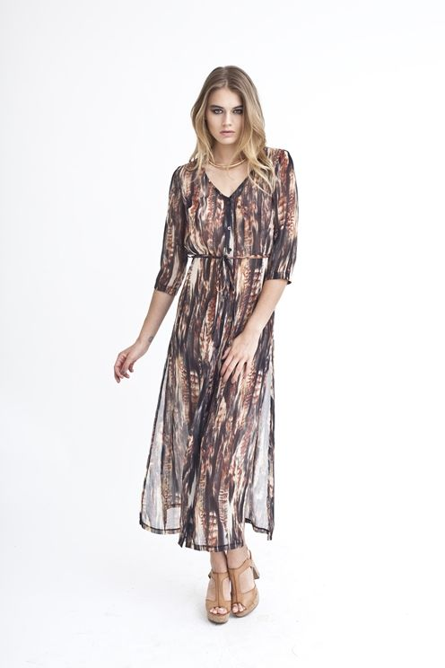 KARLEY - NUDE MIXED WATERCOLOUR BRUSH PRINT DRESS