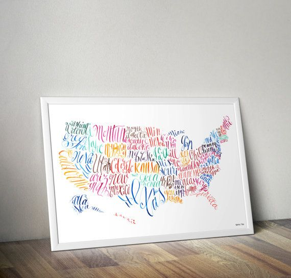 United States of America USA calligraphy Map art watercolor poster - best of world map with alaska and hawaii