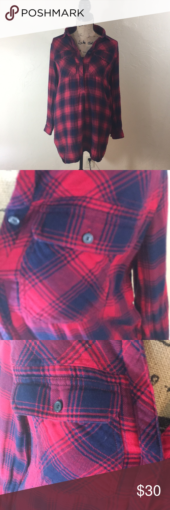 Madewell Red u Navy Flannel Shirt Tunic  Flannel tunic Red flannel
