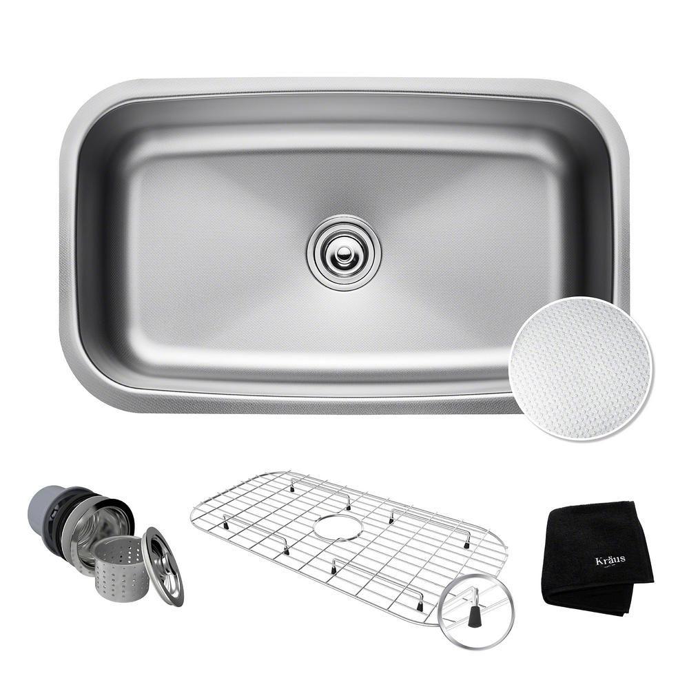 Outlast Microshield Undermount 32 in. Single Basin Kitchen Sink Kit on kohler undermount sink kit, sink drain kit, sink undermount installation kit,