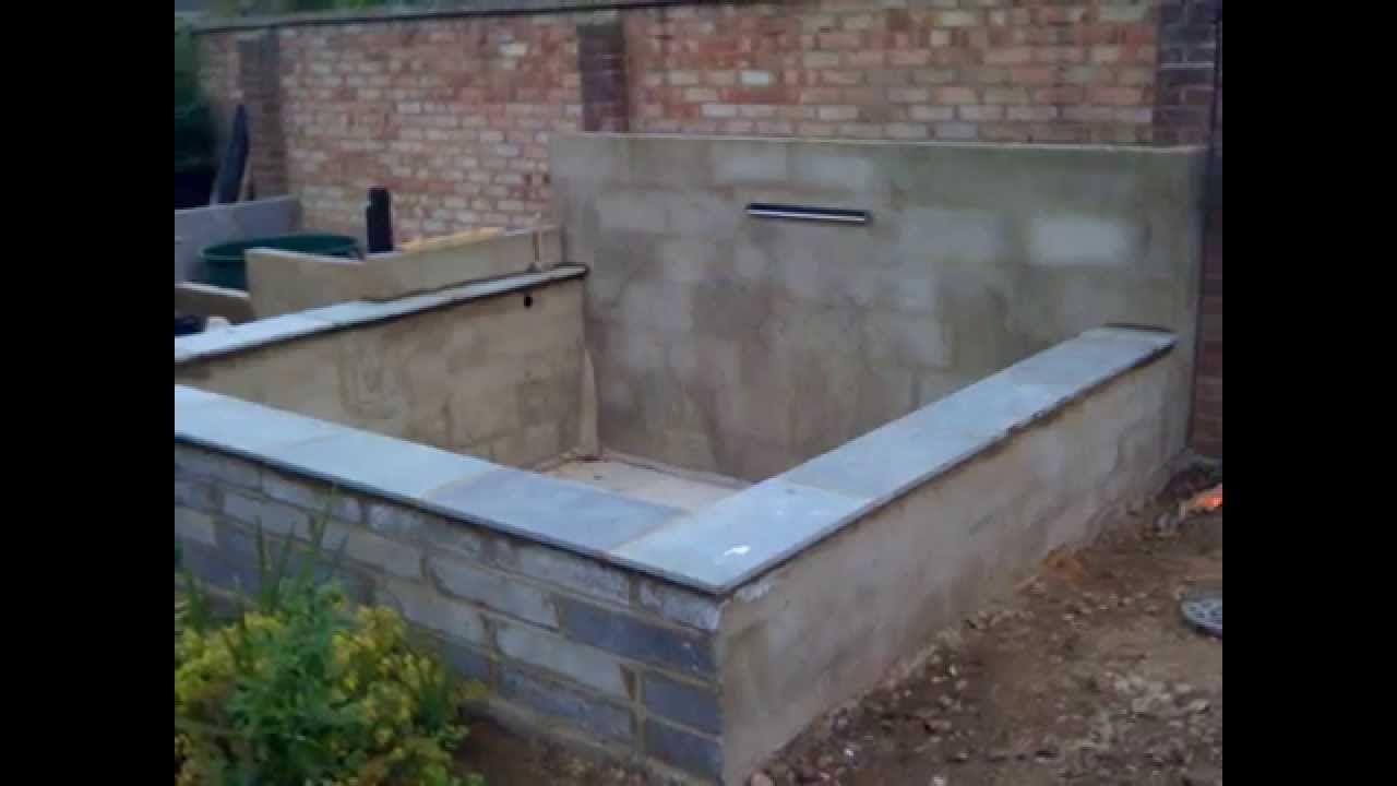 Concrete koi pond build youtube koi pond front
