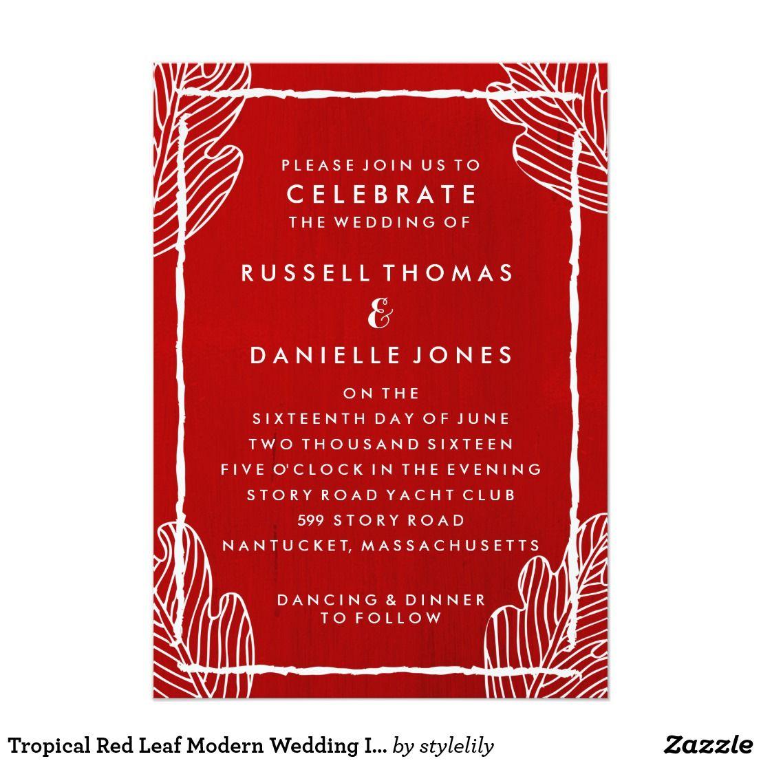 Tropical Red Leaf Modern Wedding Invitation | Wedding