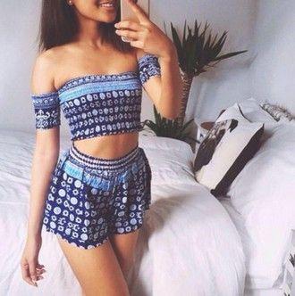 46c4c66070 shorts boho bohemian set strapless crop tops matching set two piece dress  set top summer blue shirt tribal pattern high waisted shorts crop-top off  the ...