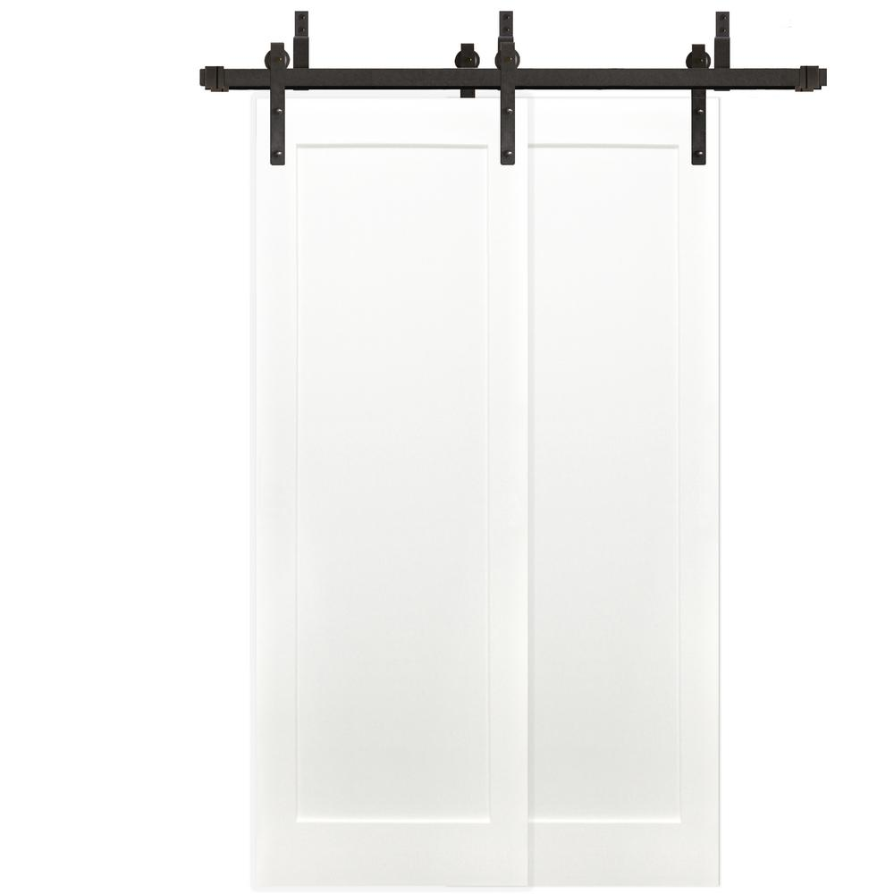 Pacific Entries 48 In X 80 In Bypass Unfinished 1 Panel Solid Core Primed Pine Wood Sliding Barn Door With Bronze Hardware Kit Byp2210 4880 10b The Home Dep Wood Barn Door Barn Door