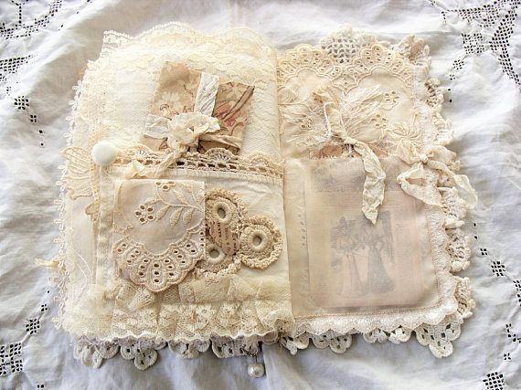 Handmade Fabric And Vintage Lace Journal Fabric Journals Fabric Book Vintage Lace