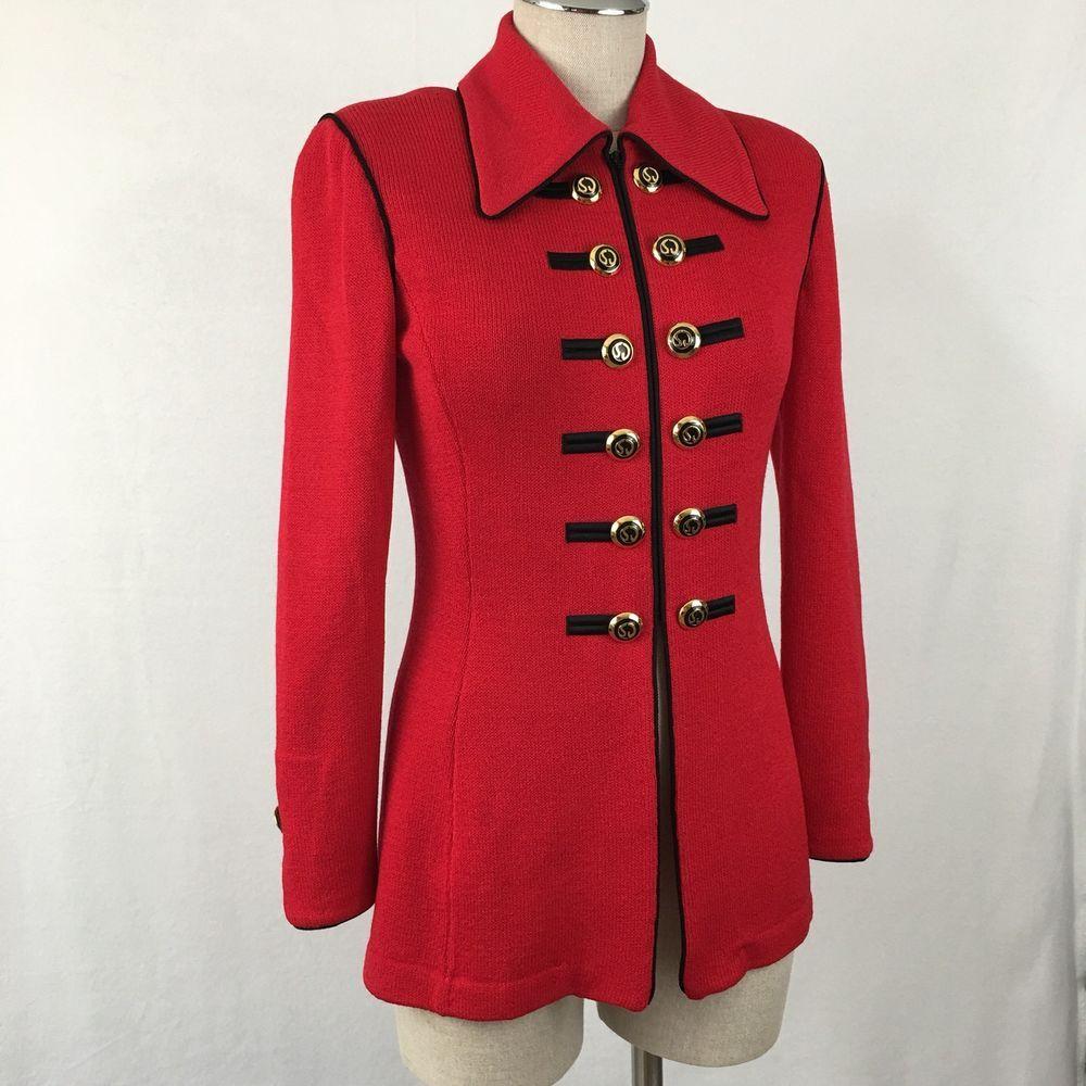 St John Santana Knit Snap Sweater Jacket By Marie Gray Red Navy Blue Sz 2 Women's Clothing Sweaters