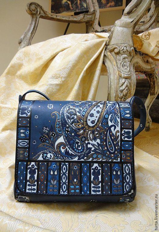 "Handbag ""Heavenly azure"" - #handmade #handbag #leather #dark #blue, #paisley #handmade The author writes: ""in a single copy. bag for the soul. not for sale."""