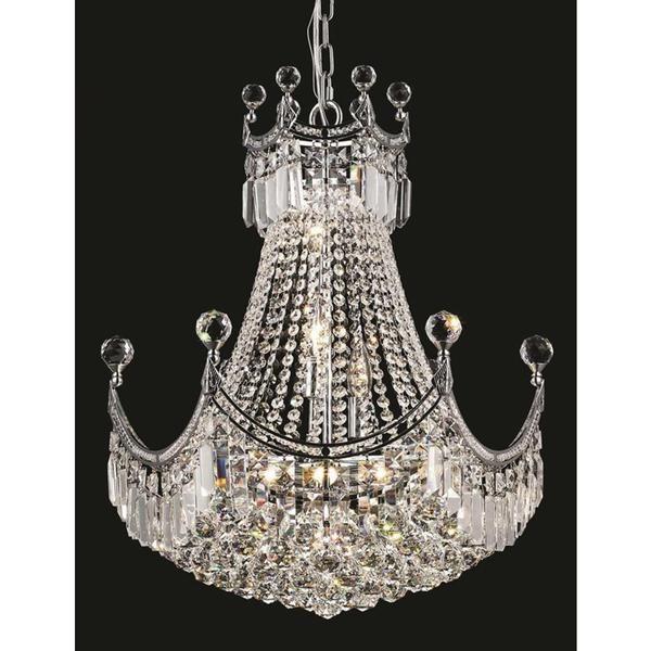 Elegant lighting chrome 20 inch royal cut crystal clear hanging 9 light chandelier