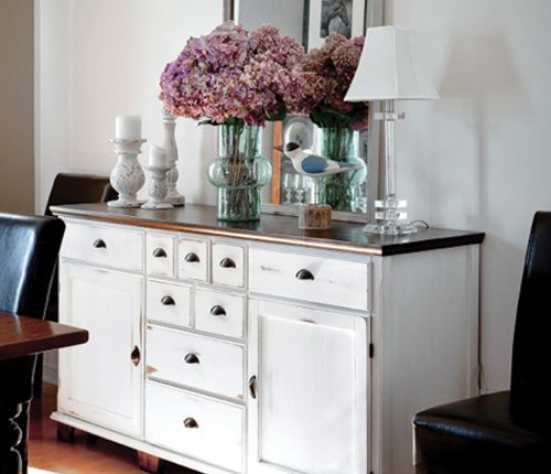 Love The Colours In This Kitchen Raspberry Paint Walnut: Dark Walnut Dresser That Was Refinished With White Chalk
