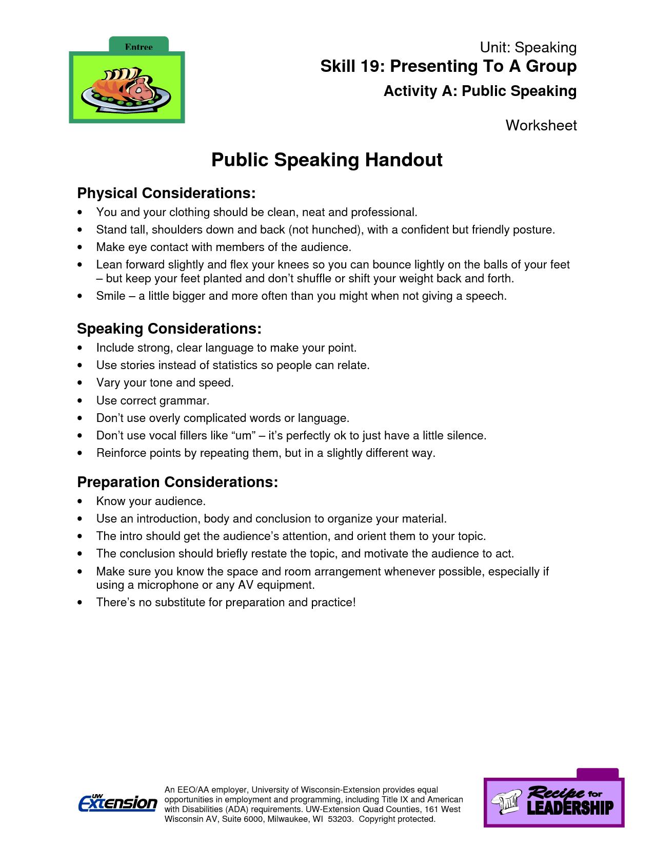 Public Speaking Worksheet Public Speaking Worksheet
