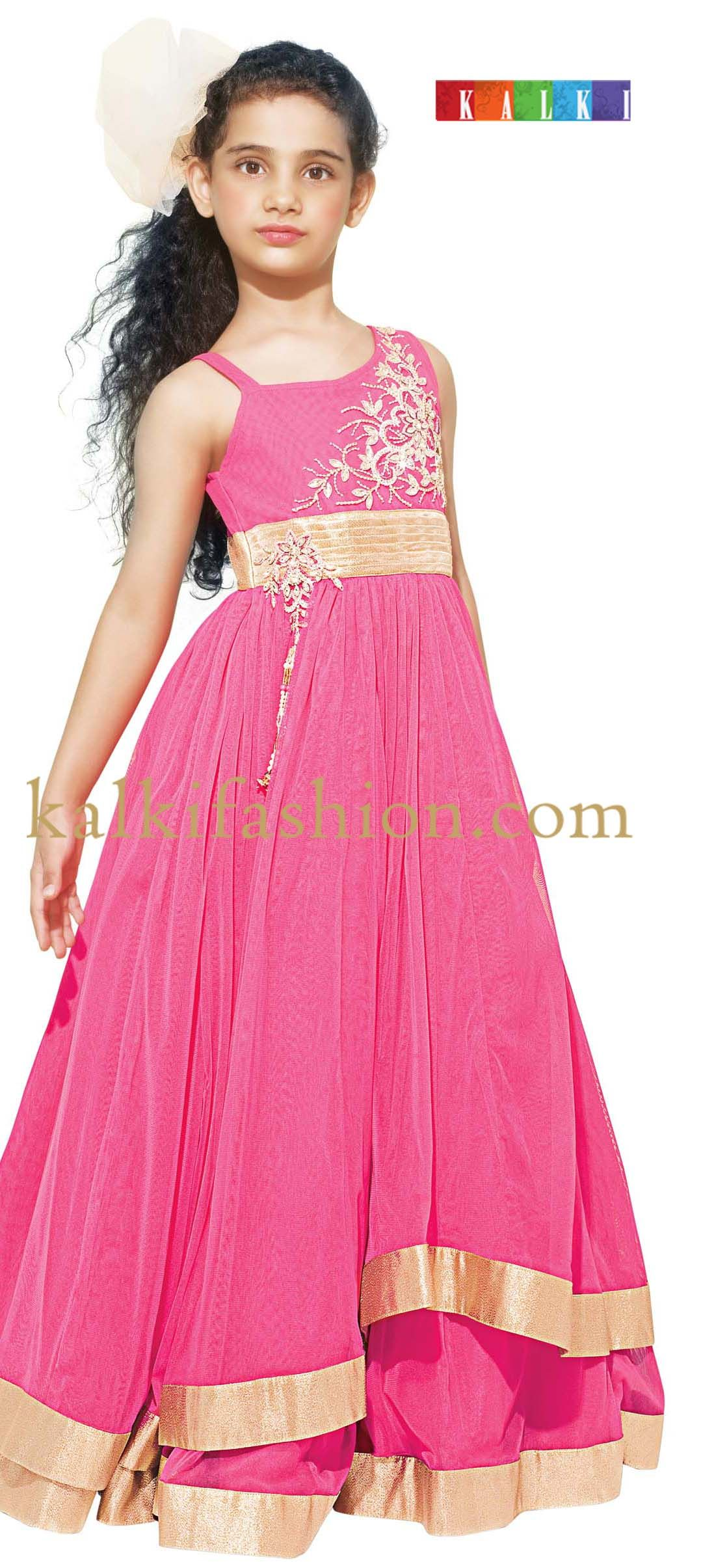 Buy it now http://www.kalkifashion.com/pink-gown-with-double-frills ...