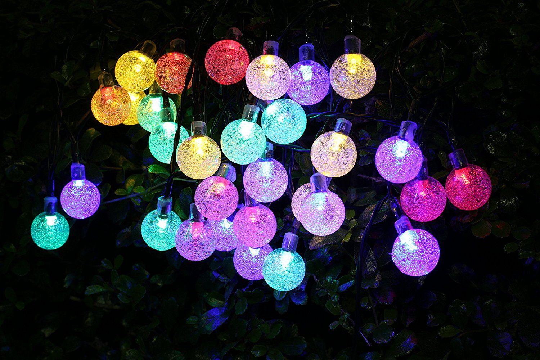 Solar LED Lichterketten 4.5m 30er Wasserdichter Bunte LED Glühbirne Außen  Solarleuchten, Dekoratives Licht Für