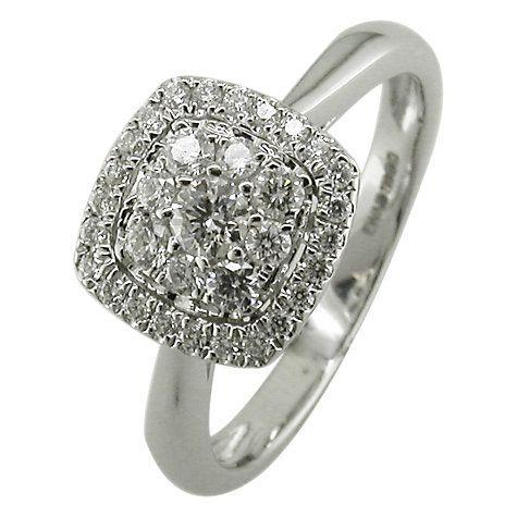 buy ewa 18ct white gold 043ct cushion cluster engagement ring n online at johnlewis - Buy Wedding Rings