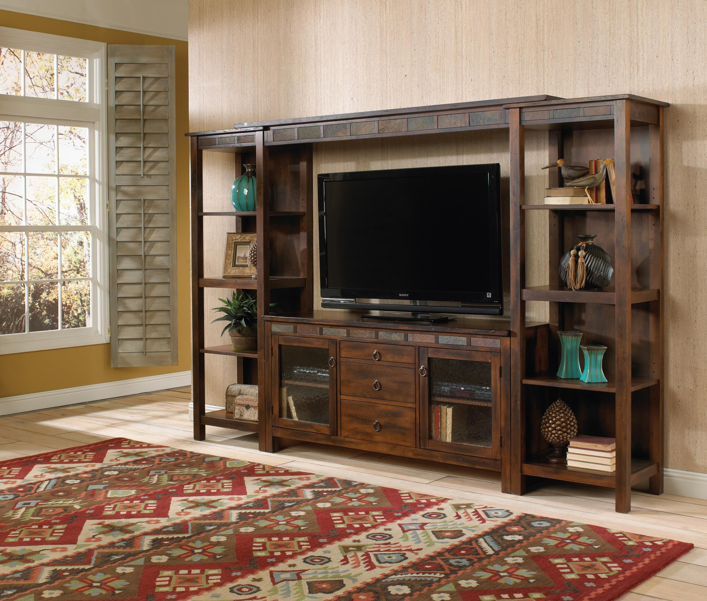 Santa Fe Rustic 108 Inch Open Display Wall Unit By Sunny Designs At Conlin S Furniture Entertainment Center Rustic Entertainment Center Entertainment Wall