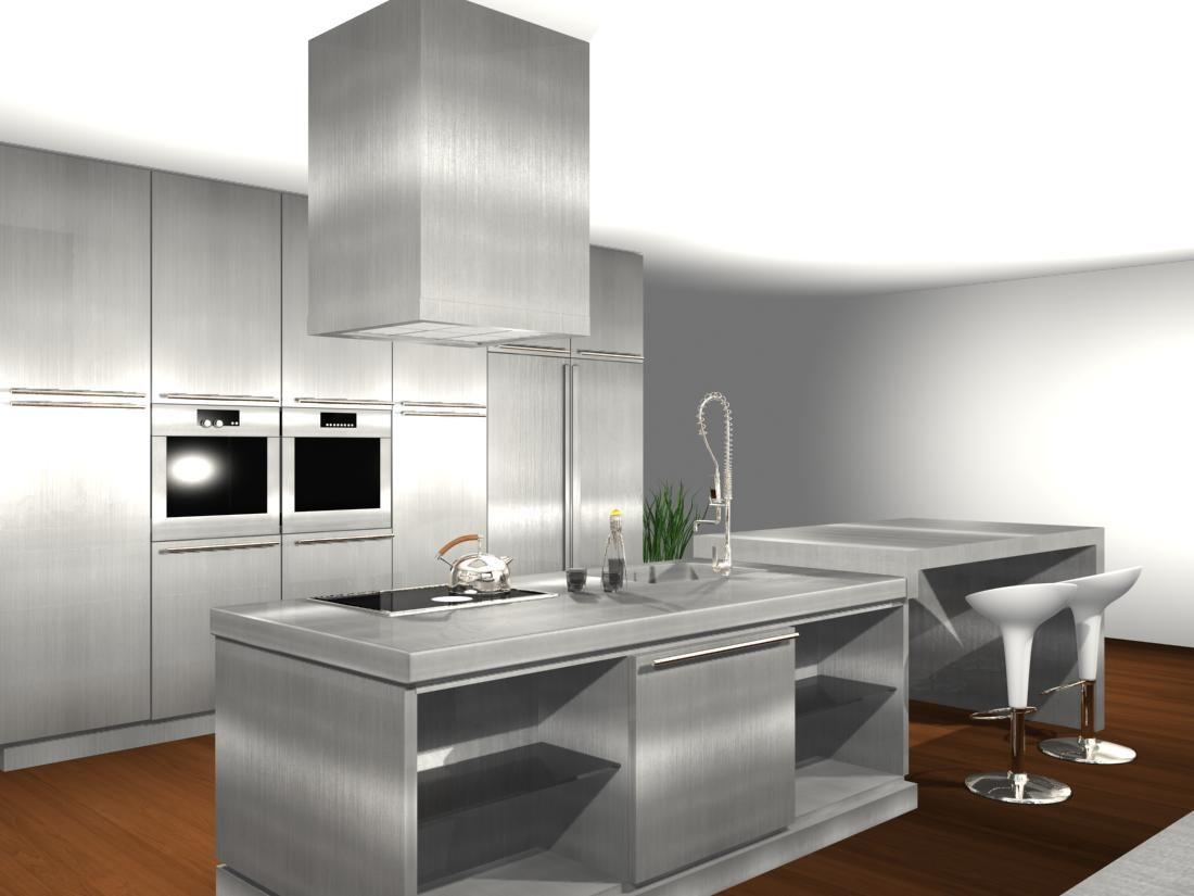 Cocinas Vanguardistas En Acero Inoxidable Proyectos En 3d Y 2d  # Muebles De Cocina Kiwi