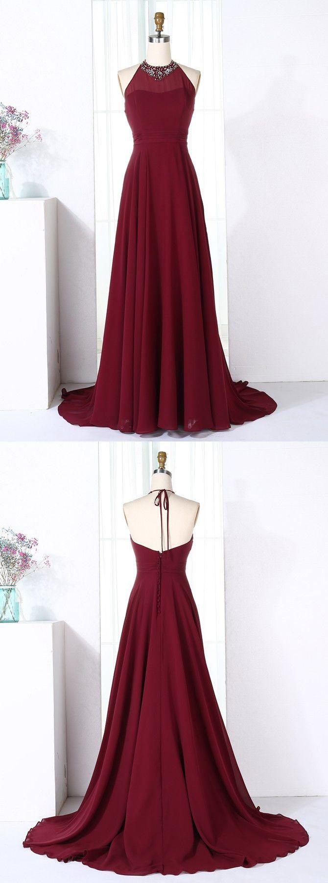 Aline halter sweep train burgundy chiffon bridesmaid dress with