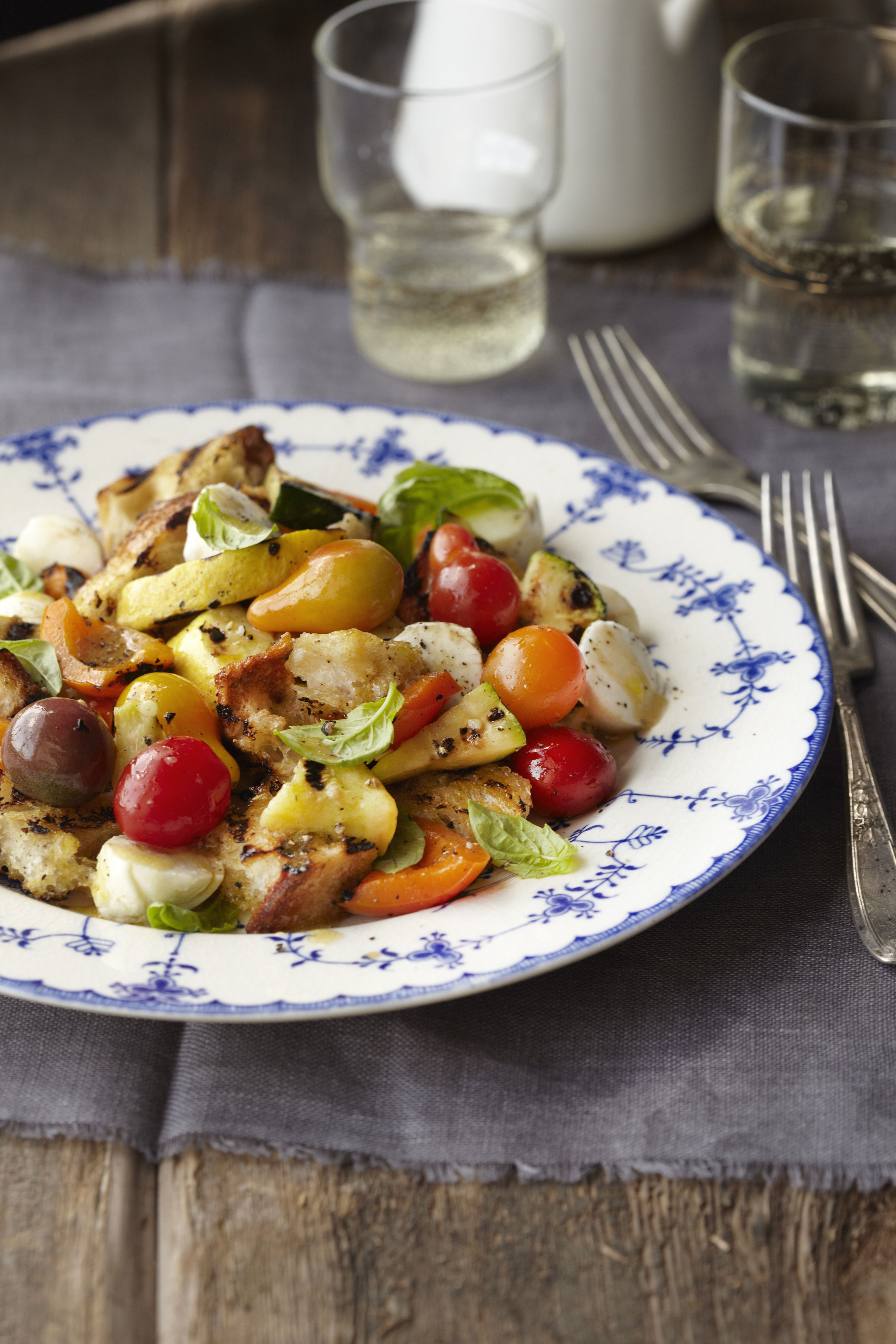 grilled veggie panzanella with mozzarella and basil  sides and veggies  grilled vegetables