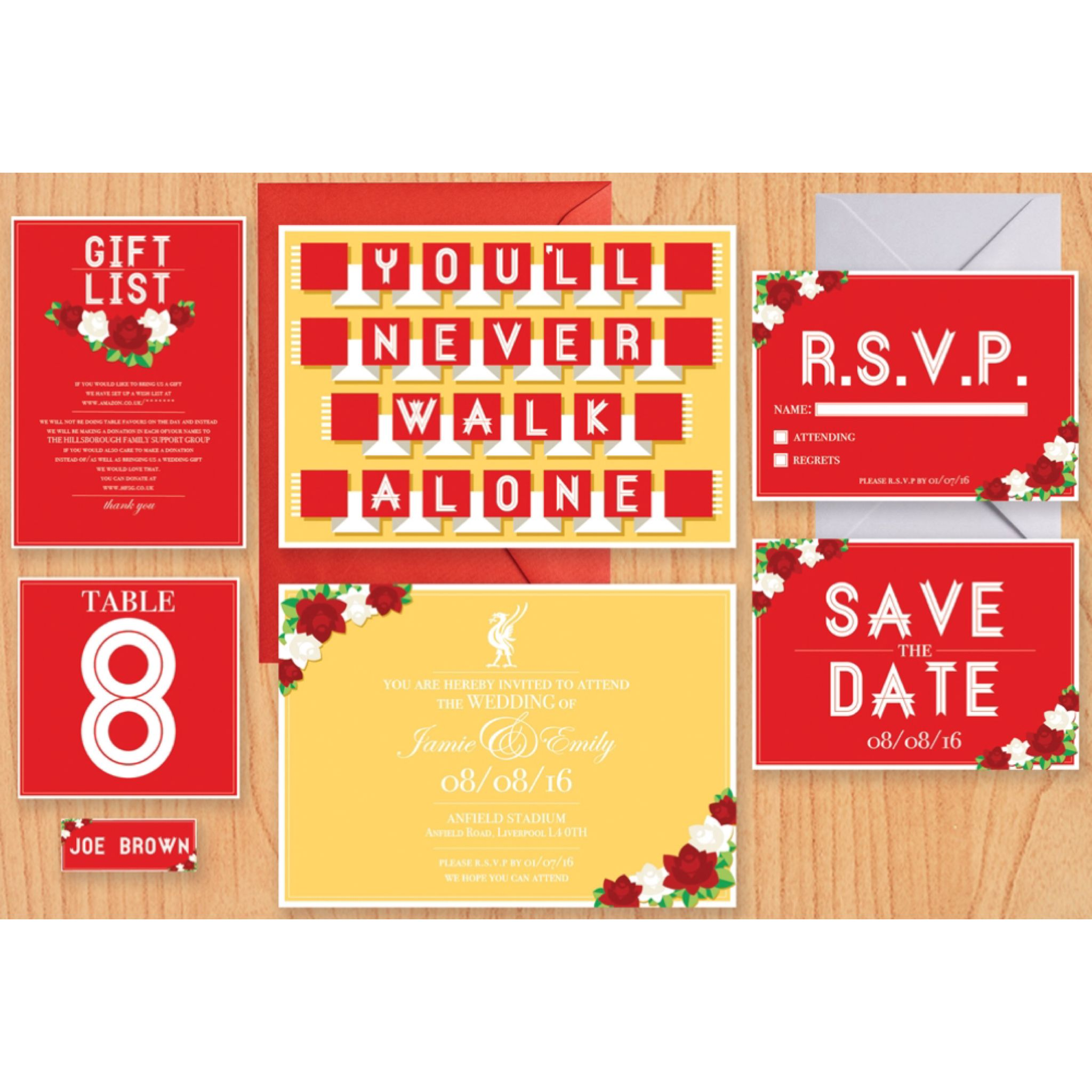 Our bespoke Liverpool FC themed wedding stationery. | Horseshoes ...