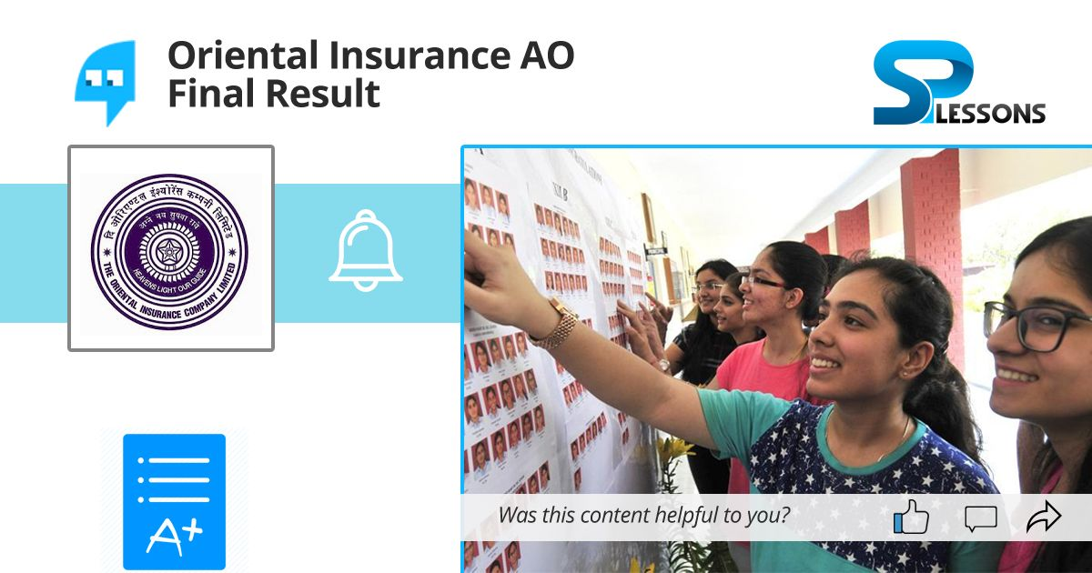 Oriental Insurance Ao Final Result With Images Finals