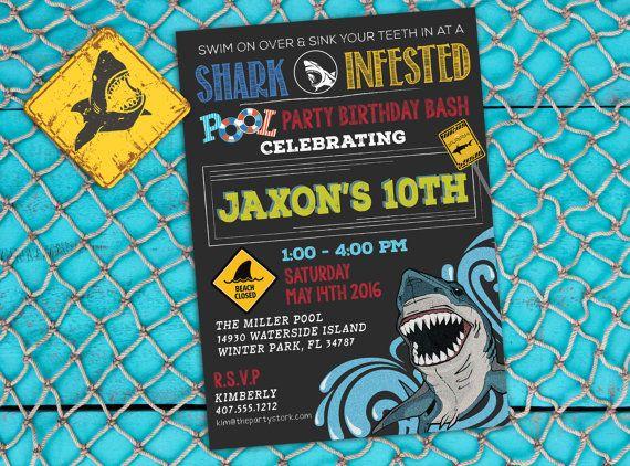 Shark Birthday Party Invitation Printable Shark Pool Party Invite
