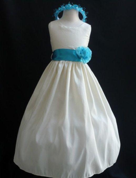 heiß seeling original das beste weltweite Auswahl an Blumenmädchen Kleider - Elfenbein mit Türkis (FD0JC ...