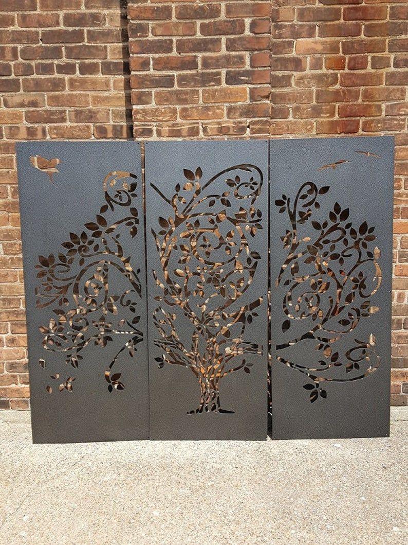 Wispy Tree Metal Privacy Screen Decorative Panel Outdoor Garden