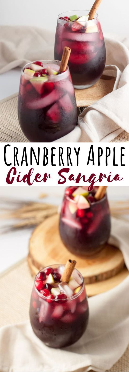 Cranberry Apple Cider Sangria #drinks #cocktails
