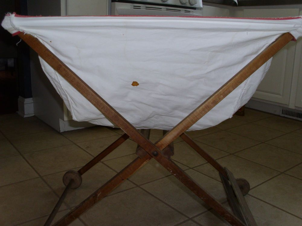 Vintage Wood Laundry Cart Folding Wheels Welmaid Bac Saver Basket