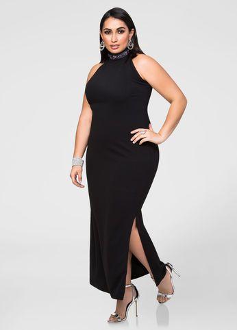 b122fd07054 Beaded Mock Neck Maxi Dress   Fashionista   Plus size maxi dresses ...