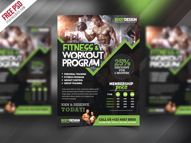 Cool Gym Fitness Workout Program Flyer PSD Template Download Free - download free flyer templates word