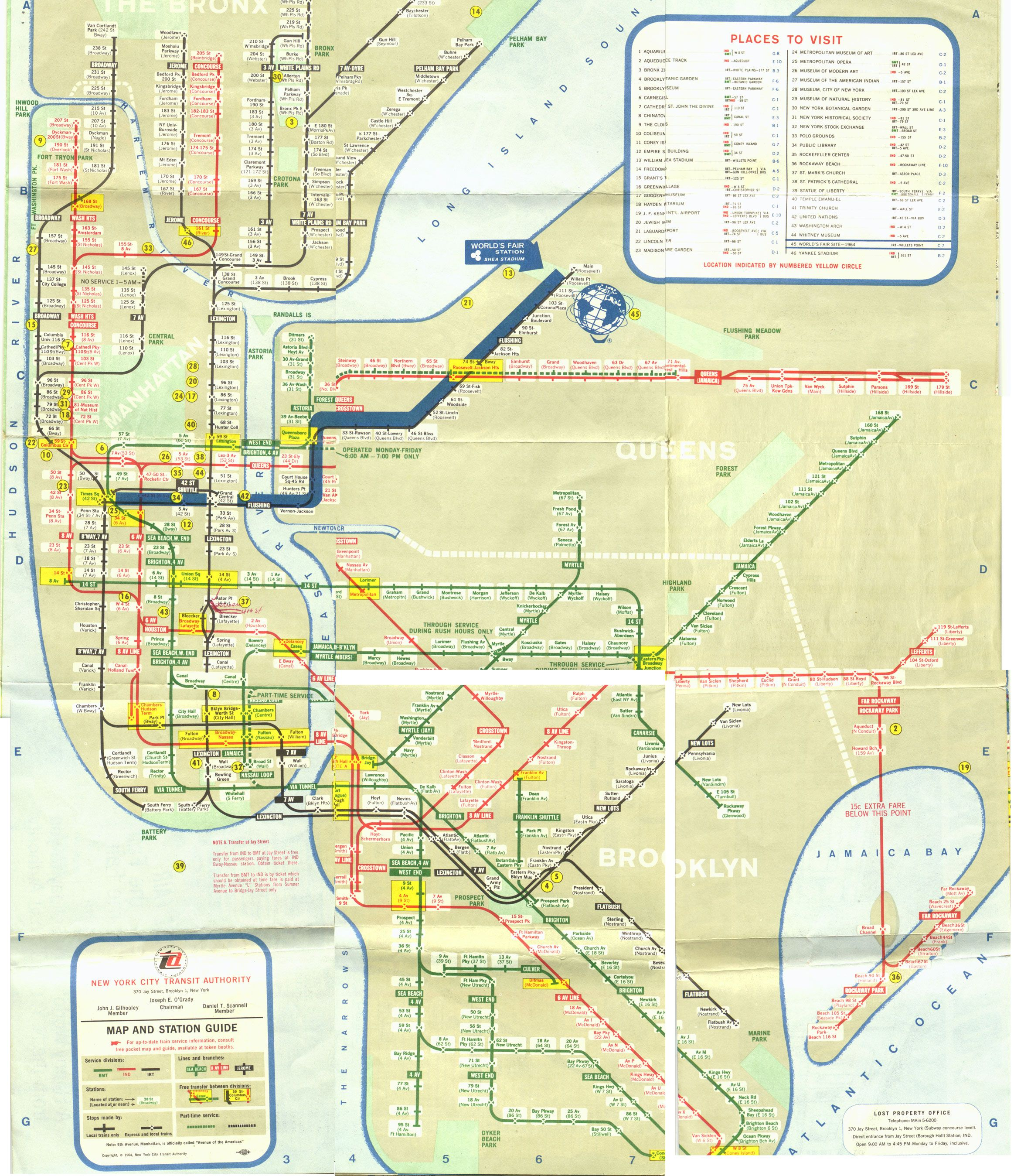 1964 World S Fair New York City Subway Map Nycsubwaymap Maps