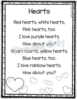 Hearts Valentines Day Poem For Kids Kindergarten Poem And