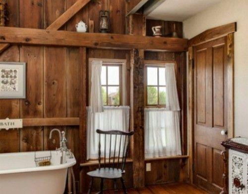 Badezimmer Bodenbelag ~ Rustikale badezimmer design holz bodenbelag badewanne beine