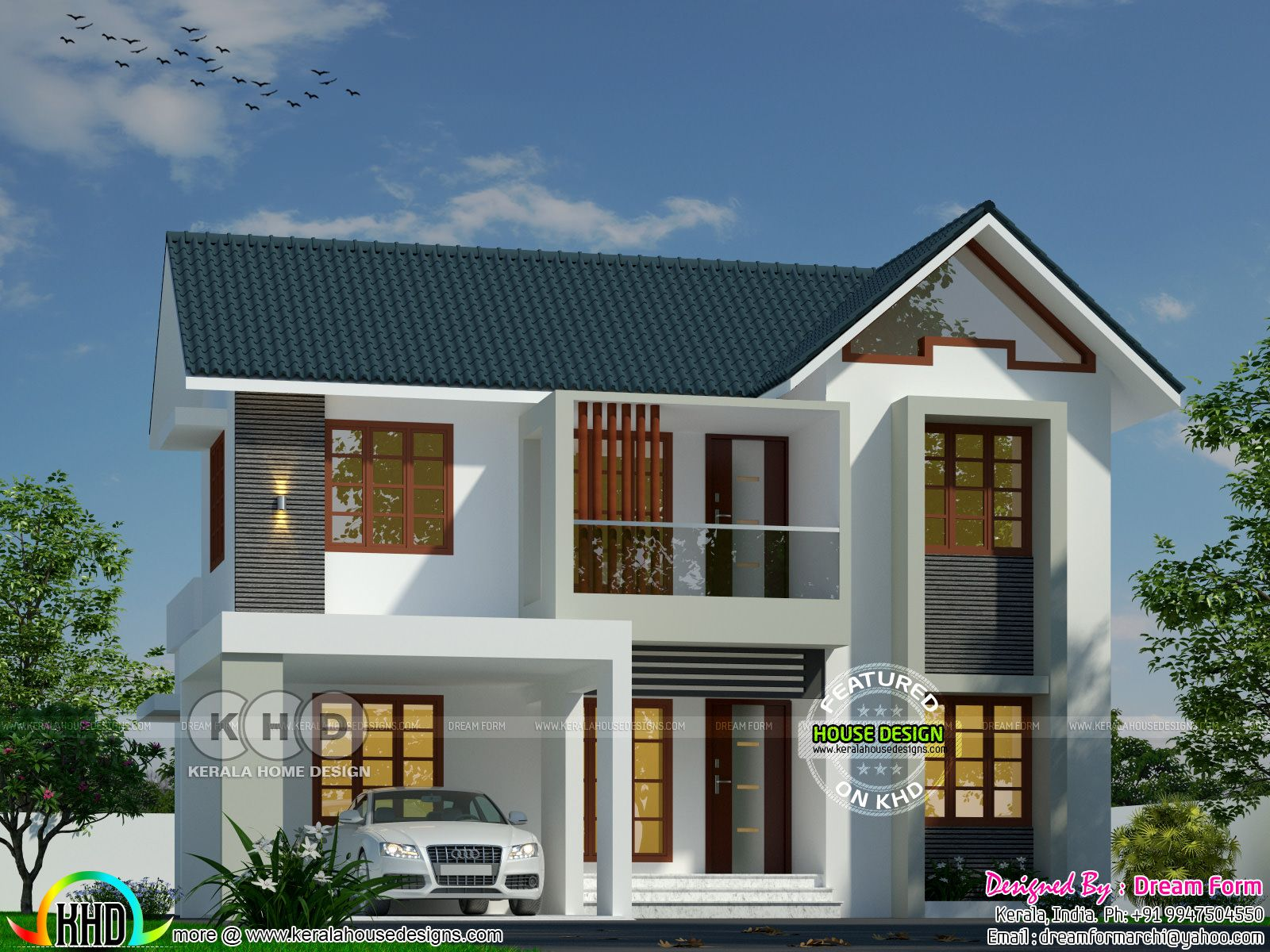 Sloping Roof Modern Home By Dream Form Kerala House Design Duplex House Design Model House Plan