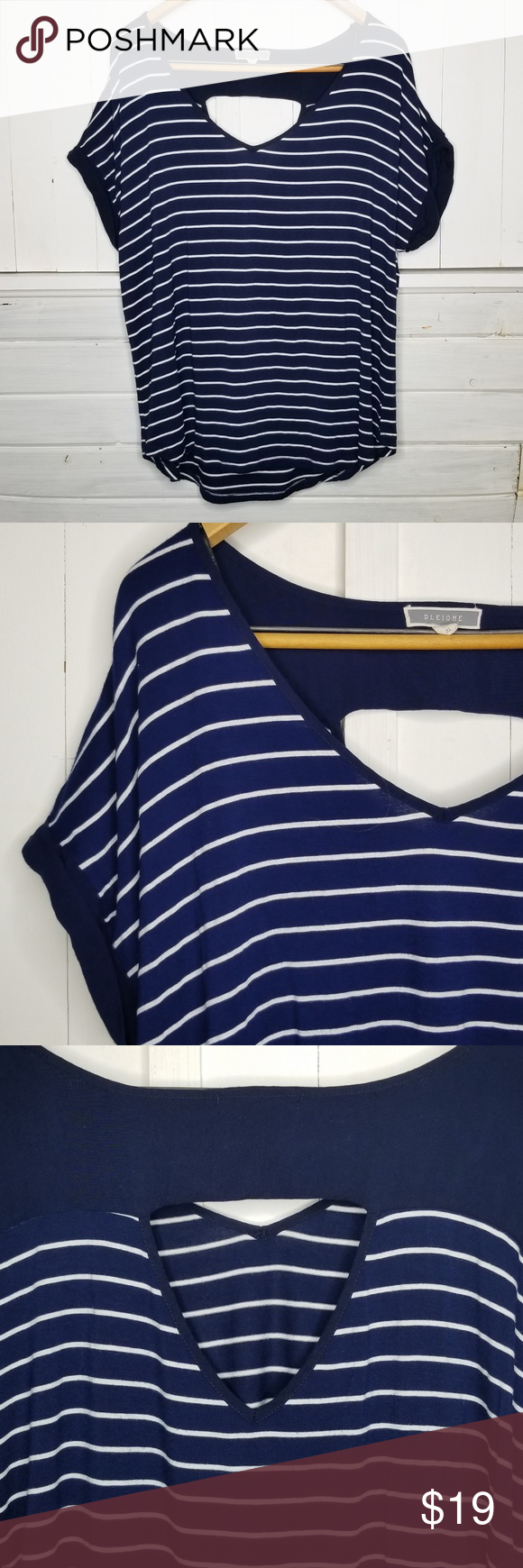 63fe3fba8282b Pleione Blue Striped Blouse XL Pleione Dark blue and white short sleeved  striped blouse with open
