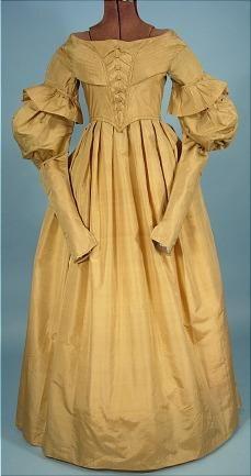 c. late 1830's Dress of Golden Silk with Matching Pelerine